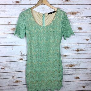 Mint Green Tan Ark & Co Crochet Fringe Shift Dress